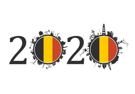 Circle with industry and sea shipping silhouettes. Objects located around the circle. Industrial design background. 2020 year number. Flag of the Belgium Banque d'images - 133213990