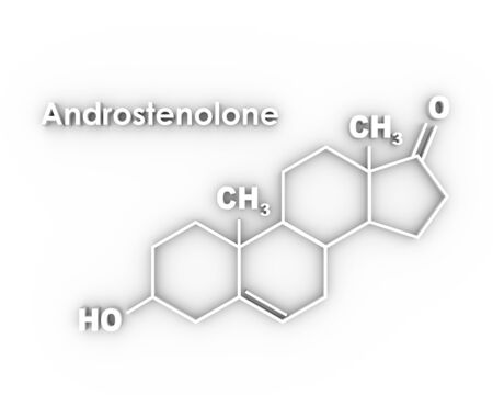Chemical molecular formula hormone androstenolone. Infographics illustration. 3D rendering