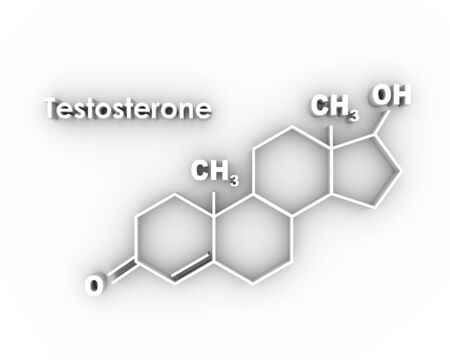 Chemical molecular formula hormone testosterone. Infographics illustration. 3D rendering Фото со стока
