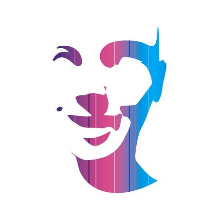 Face front view. Elegant silhouette of a female head. Portrait of a happy smiled woman textured by horizontal lines. Stock Illustratie