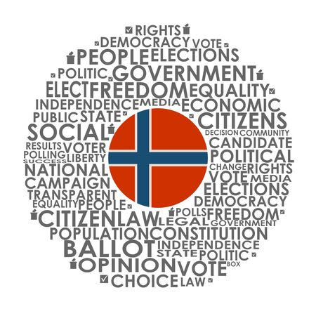 Words cloud relative for voting. Circle frame. Flag of the Norway