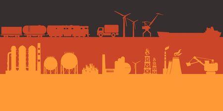 Iconos de energía y potencia en el telón de fondo de la bandera de Alemania. Banner de encabezado o pie de página. Generación de energía sostenible, transporte e industria pesada.