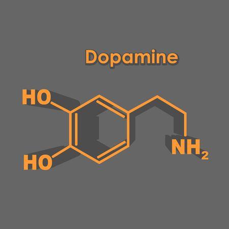 Chemical molecular formula hormone dopamine. Infographics illustration.