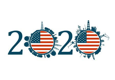 Circle with industry and sea shipping silhouettes. Objects located around the circle. Industrial design background. 2020 year number. Flag of the USA Banque d'images - 133302023