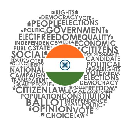 Words cloud relative for voting. Circle frame. Flag of the India