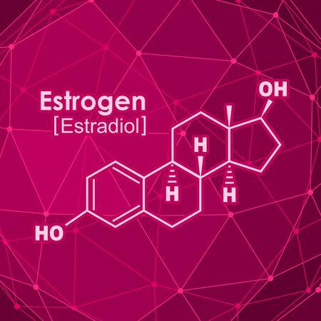 Chemical molecular formula hormone estrogen. Infographics illustration. Connected lines with dots background.