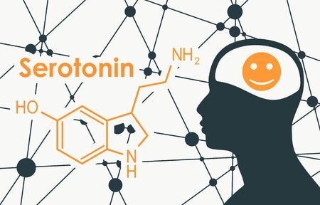 Chemical molecular formula hormone serotonin. Silhouette of a man head. Connected lines with dots background.