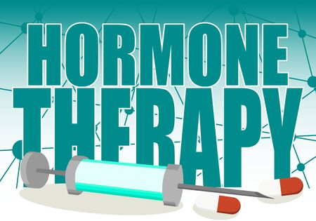 Hormone therapy text with syringe and pills. Connected lines with dots background. Medical research concept. Stock fotó