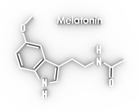 Melatonin hormone chemical molecular formula. In humans, it plays a role in circadian rhythm synchronization. Stylized conventional skeletal formula. 3D rendering