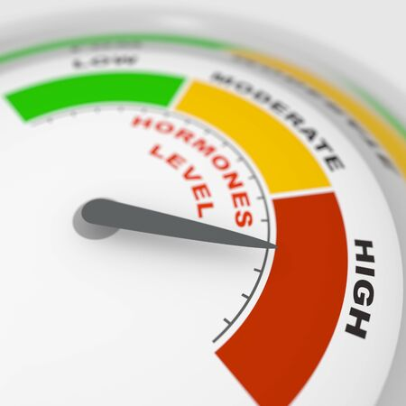 Hormone meter read high level result. Color scale with arrow from red to green. The measuring device icon. Colorful infographic gauge element. 3D rendering
