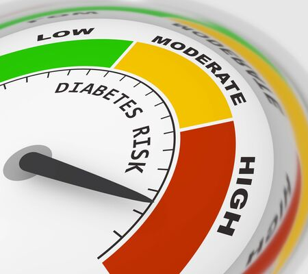Medizinischer Hintergrund. Diabetes-Risikostufe. Abstrakte Skala. 3D-Rendering Standard-Bild