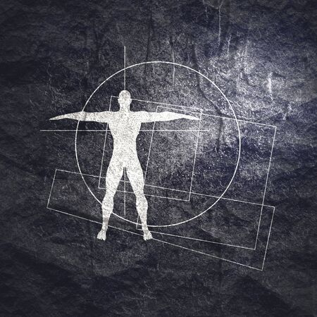 Geometry thin lines shapes with silhouette of a muscular man. Biology and bodybuilding concept