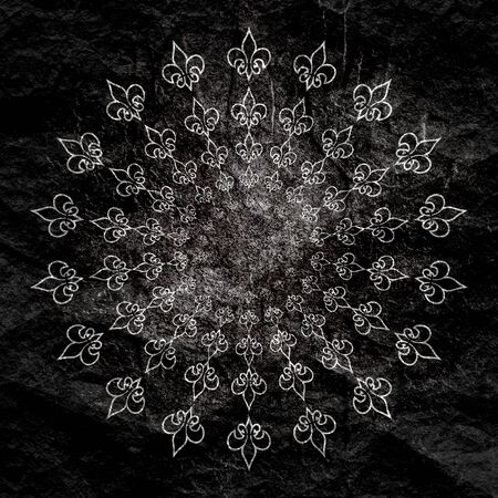 Decorative design element. Pattern with royal lily. Circular ornamental symbol.