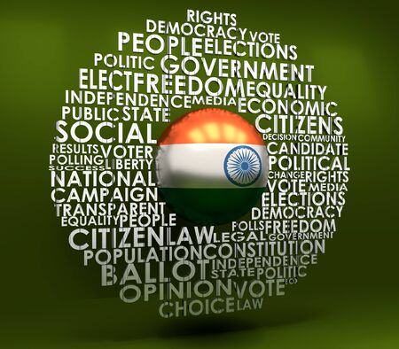 Words cloud relative for voting. Circle frame. Flag of the India. 3D rendering