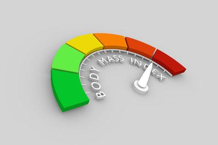 Il misuratore dell'indice di massa corporea legge il risultato di alto livello. Scala di colori con freccia dal rosso al verde. L'icona del dispositivo di misurazione. Elemento di misura infografica colorato. Rendering 3D