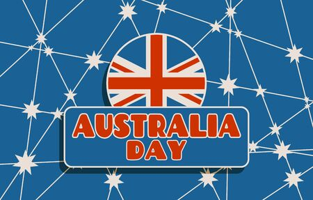 Australia flag design concept. Image relative to travel and politic themes. Australia day text. brochure or report design template. Connected lines with stars.