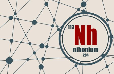 Nihonium chemical element. Sign with atomic number and atomic weight. Chemical element of periodic table. Molecule And Communication Background. Connected lines with dots. Illusztráció