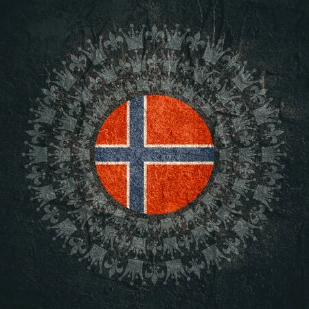 Decorative design element. Pattern with crown and royal lily. Circular ornamental symbol. Flag of the Norway