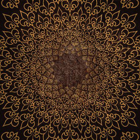 Decorative design element. Pattern with royal lily. Circular ornamental symbol. Stock fotó