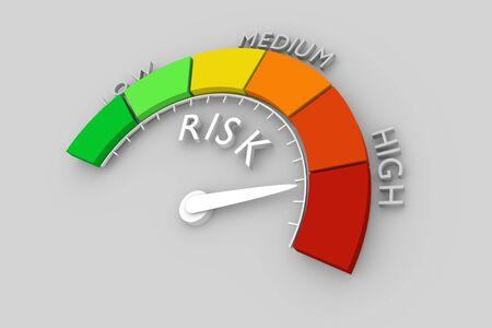 Scala di colori con freccia dal rosso al verde. L'icona del dispositivo di misurazione. Indicatore del livello di rischio. Elemento di misura infografica colorato. Rendering 3D