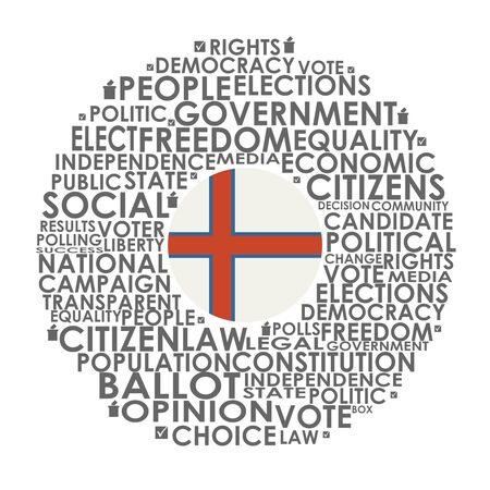Words cloud relative for voting. Circle frame. Flag of the Faroe
