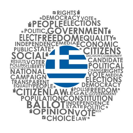 Words cloud relative for voting. Circle frame. Flag of the Greece Illusztráció