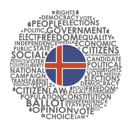 Words cloud relative for voting. Circle frame. Flag of the Iceland Illusztráció