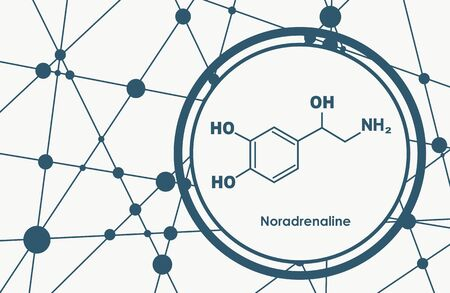 Chemical molecular formula hormone noradrenaline. Infographics illustration. Ilustracja