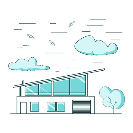 Thin line style suburban house. For web design and application interface. Real estate business illustration 向量圖像