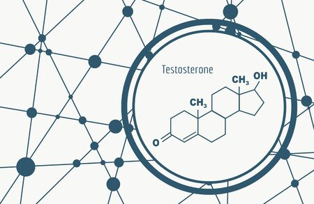 Chemical molecular formula hormone testosterone. Infographics illustration.