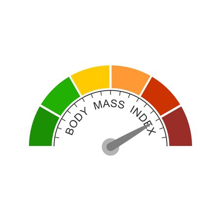 Body mass index meter read high level result. Color scale with arrow from red to green. The measuring device icon. Vector illustration in flat style. Colorful infographic gauge element