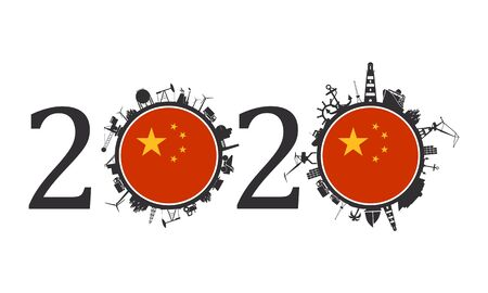 Circle with industry and sea shipping silhouettes. Objects located around the circle. Industrial design background. 2020 year number. Flag of the China Banque d'images - 133505166
