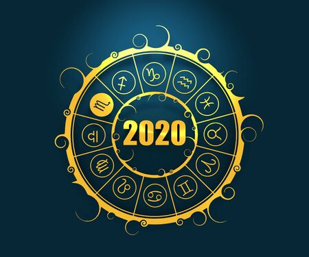 Astrological symbols in the circle. Scorpio sign. New Year and Christmas celebration card template. Zodiac circle with 2020 new year number. 3D rendering Stock Photo