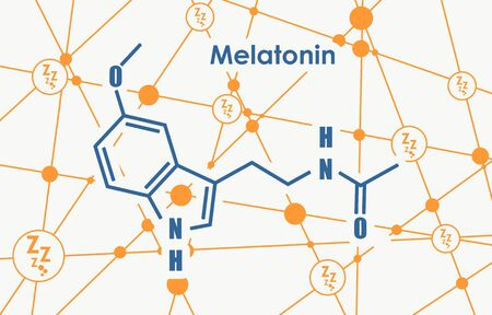 Melatonin hormone chemical molecular formula. In humans, it plays a role in circadian rhythm synchronization. Stylized conventional skeletal formula. Connected lines with dots background