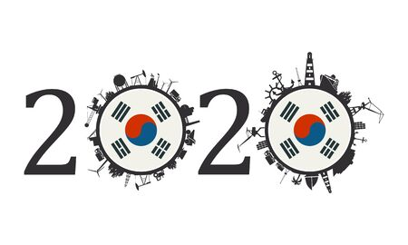 Circle with industry and sea shipping silhouettes. Objects located around the circle. Industrial design background. 2020 year number. Flag of the South Korea 向量圖像