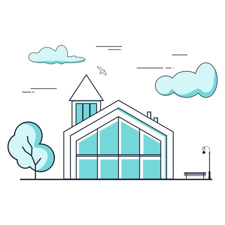 Thin line style suburban house. For web design and application interface. Real estate business illustration Ilustração