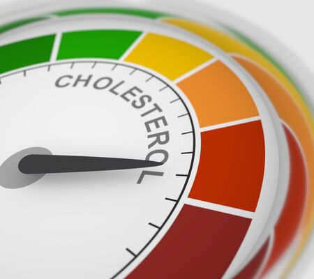 Cholesterol meter read high level result. Color scale with arrow from red to green. The measuring device icon. Colorful infographic gauge element. 3D rendering