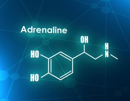 Chemical molecular formula hormone adrenaline. Infographics illustration. 3D rendering