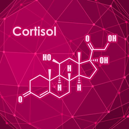 Chemical molecular formula hormone cortisol. Connected lines with dots background