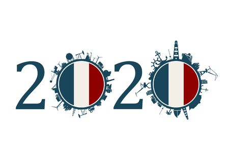 Circle with industry and sea shipping silhouettes. Objects located around the circle. Industrial design background. 2020 year number. Flag of the France Banque d'images - 133505295