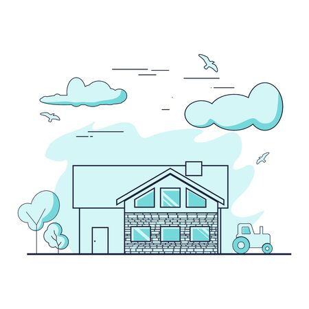 Thin line style suburban house. For web design and application interface. Real estate business illustration  イラスト・ベクター素材
