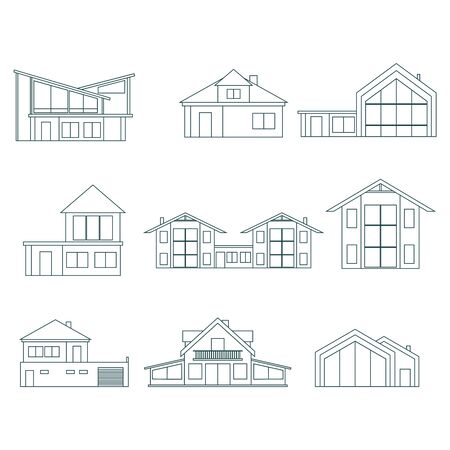 Illustration of home outline icons. House silhouettes in thin line style. Real estate business and game application design illustration  イラスト・ベクター素材
