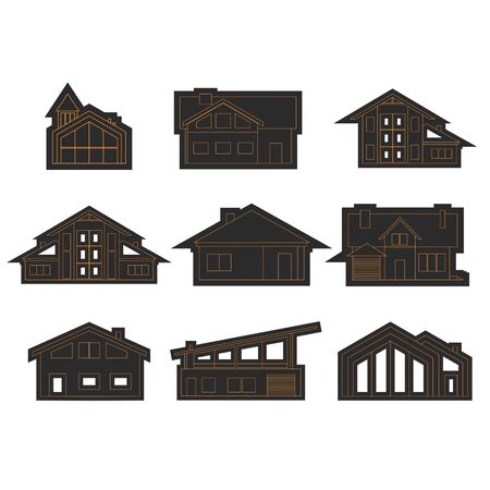 Illustration of home icons. House silhouettes. Real estate business and game application design illustration