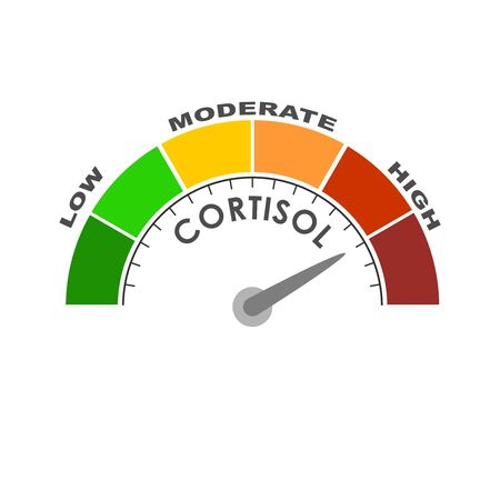 Hormone cortisol level measuring scale. Health care concept illustration.