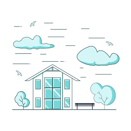 Thin line style suburban house. For web design and application interface. Real estate business illustration Ilustrace