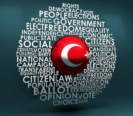 Words cloud relative for voting. Circle frame. Flag of the Turkey. 3D rendering