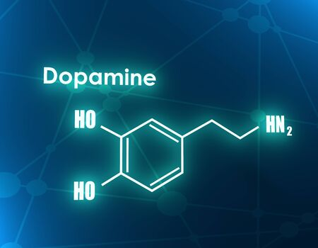 Chemical molecular formula hormone dopamine. Infographics illustration. 3D rendering 스톡 콘텐츠