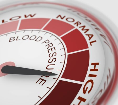 High blood pressure concept. Color scale with arrow. The measuring device icon. Infographic gauge element. 3D rendering