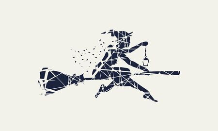 Illustration of flying young witch icon composed of particles. Witch silhouette on a broomstick. Lamp in hand. Halloween relative image. Illustration