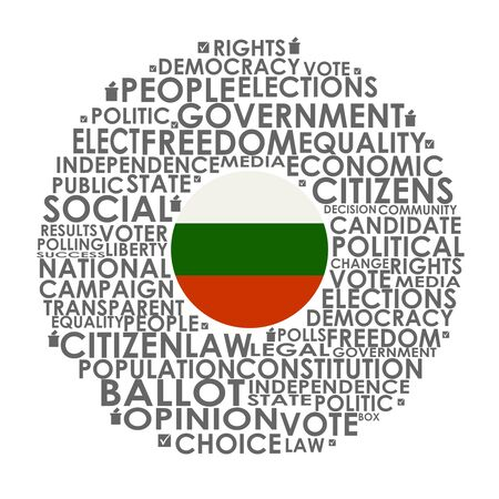 Words cloud relative for voting. Circle frame. Flag of the Bulgaria Stock fotó